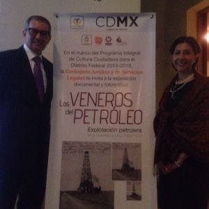 Mexico City Government Legal and Legislative Affairs Director Claudia Luengas stands with curator Marco Bracamontes during the opening ceremony.